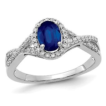 Ladies 9/10 Carat (ctw) Natural Blue Sapphire Ring in 14K White Gold with Diamonds