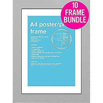 GB Posters 10 Silver A4 MDF Poster Frames 29.7 x 21cm Bundle
