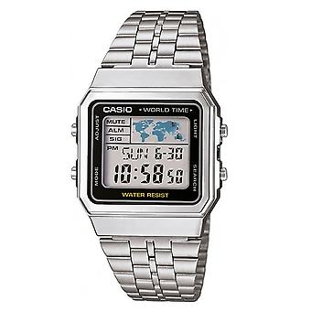 Casio A500WEA-1EF Men's Stainless Steel Digtial Watches With World Time