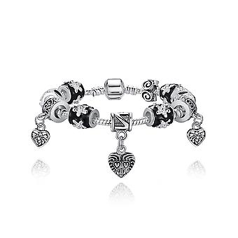 Silver plated snake bracelet with charms Size 18 cm