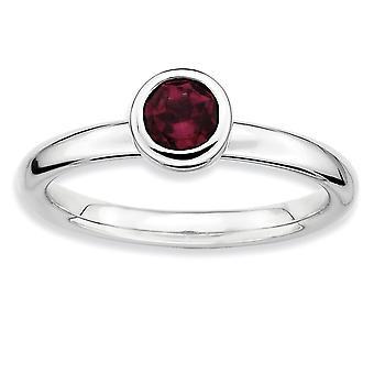 Sterling Silver Bezel polerad rodium-plated stapelbar uttryck låg 5 mm rund Rhod. Granat Ring - Ring storlek: 5 till 10