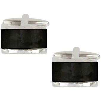 David Van Hagen Onyx Domed Rectangle Cufflinks - Black/Silver