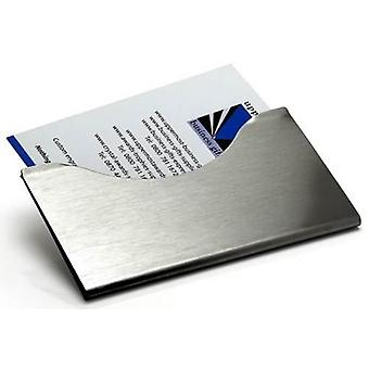 David Van Hagen Brushed Steel Business Card Holder - Silver