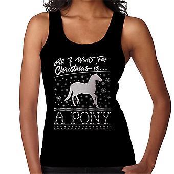 Alles, was ich will zu Weihnachten ist ein Pony Strickmuster Damen Weste