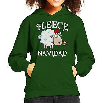 Fleece Navidad Christmas Sheep Kid's Hooded Sweatshirt