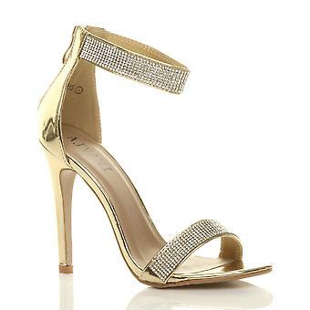 Ajvani kvinners høy hæl strappy diamante knapt det sandaler kveld sko