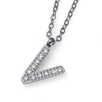 Oliver Weber Pendant Initial V Steel CZ Crystal