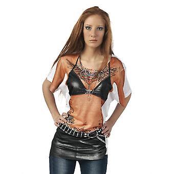 T-Shirt Bikerin Damenkostüm Rockerbraut Kostüm Damen Rockershirt