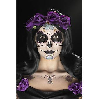Day of the Dead Face Tattoo Transfers Kit, MULTI