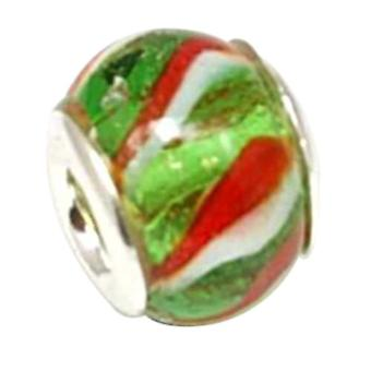 TOC BEADZ Silver Green Toothpaste 10mm Glass Bead