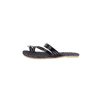 LMS Black Patent Flat Sandal With Gem Detail And Heart Toe Post