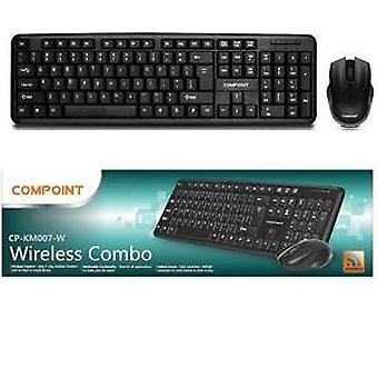 Compoint CP-KM007-W nero Layout UK combinata senza fili, tastiera e Mouse