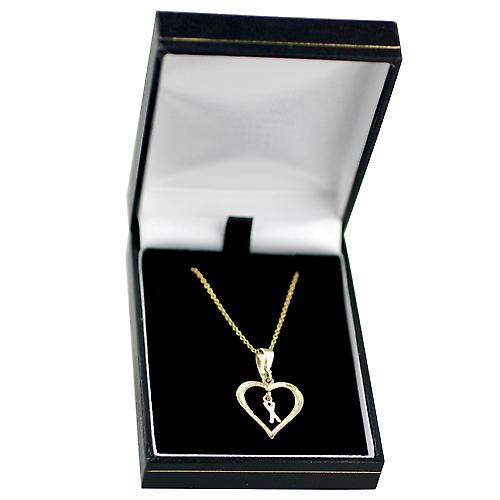 9ct Gold 18x18mm initial X in a heart with Cable link chain