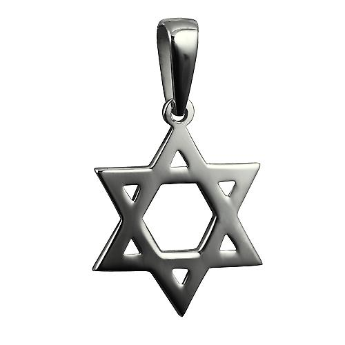 Silver 27x27mm plain Star of David Pendant on a bail