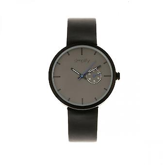 Simplify The 3900 Leather-Band Watch w/ Date - Black