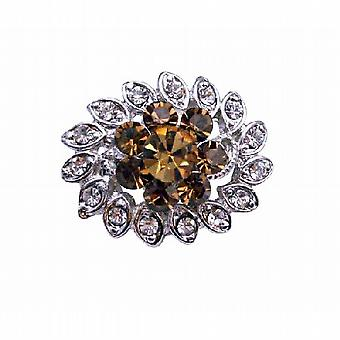 Multipurpose Smoked Topaz & Clear Crystals Silver Plated Brooch