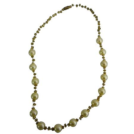 Girls Party Yellow Pearls Necklace