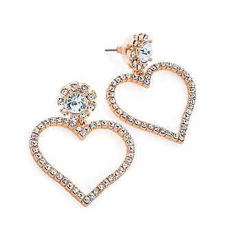Ladies Rose Gold Colour Crystal Heart Design Drop Earrings 4.5cm