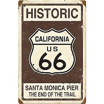 Route 66 Santa Monica Pier rusted metal sign (pst 1812)