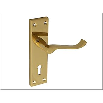 Forge Backplate Handle Lock - Scroll Victorian Brass Finish 150mm