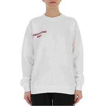 Semi-couture Alessandra White Cotton Sweatshirt