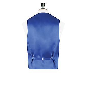 Dobell Mens Blue Waistcoat Regular Fit 5 Button Victorian Jacquard Pattern