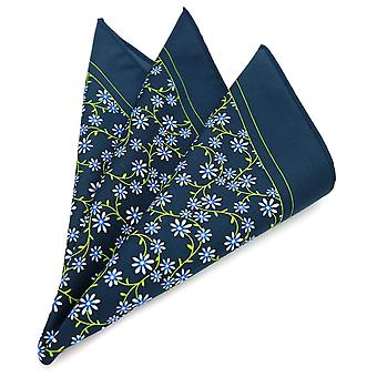 Black floral pattern large 33cm hanky pocket square