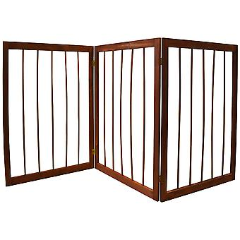 Værne om - 3 afsnit Solid Wood Folding Pet Gate - brun