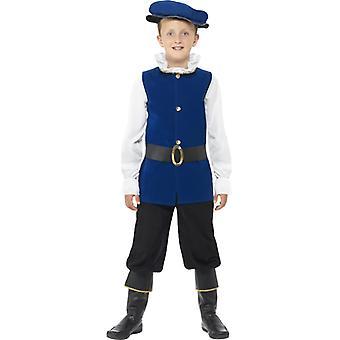 Tudor boy drakt blå Shell bukser med høye støvler belte og lue