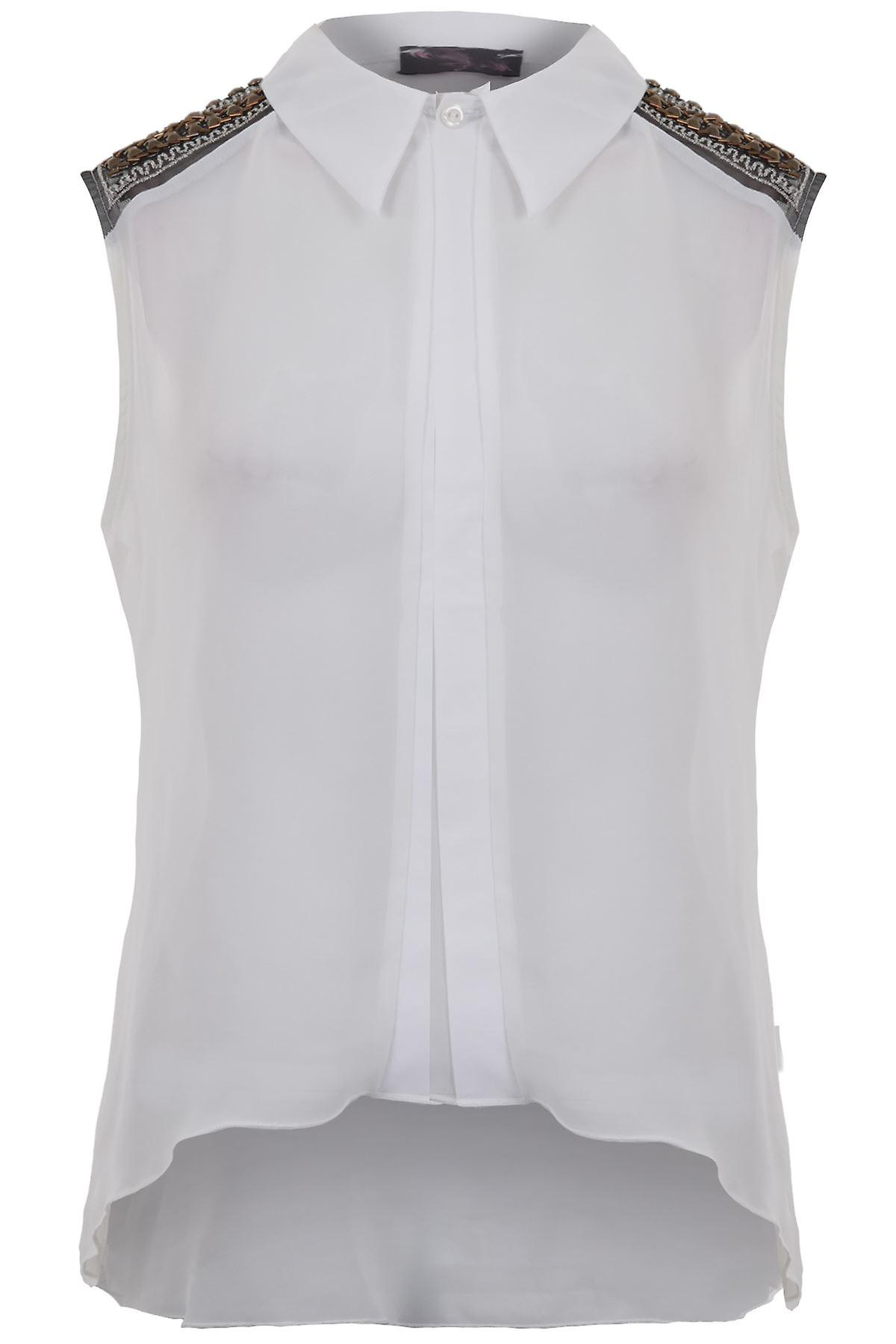 Ladies Sleeveless Shoulder Studded Pattern Chiffon Top Women's Shirt Blouse