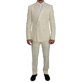 Cream white wool silk slim fit 3 piece suit