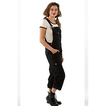 Womens black dungarees with roll-up leg