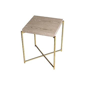 Gillmore Space Weathered Oak Square Side Table With Brass Cross Base