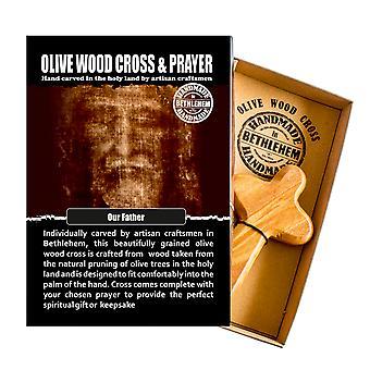 Onze vader gesneden olijf hout comfort Kruis religieuze Keepsake hand gemaakt in Bethlehem