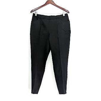 Isaac Mizrahi Live! Donne's Petite Pantaloni 24/7 Allunga Slim Leg Nero A309567