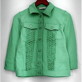 Isaac Mizrahi Live! Basic Jacket Knit Denim w/ Textured Detail Green A263885