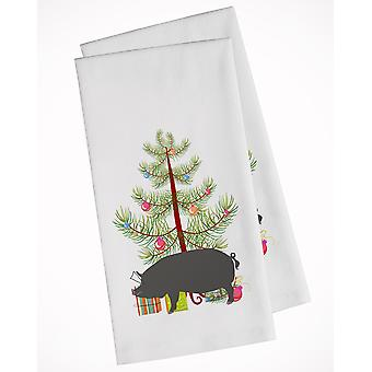 Berkshire Pig Christmas White Kitchen Towel Set of 2