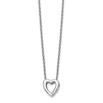 Polished Gift Boxed Rhodium-plated Lobster Claw Closure White Ice .02ct Diamond Heart Necklace - 18 Inch