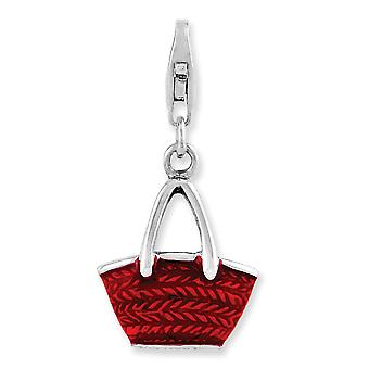 925 Sterling Silver Fancy Lobster Closure Rhodium-plated 3-d Enameled Purse With Lobster Clasp Charm