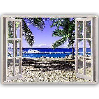 Metal Print, Window Beach And Palm Trees