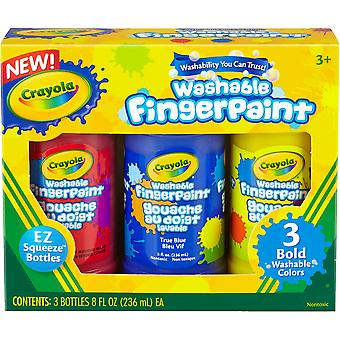 Crayola Washable Finger Paint 8oz 3/Pkg-Primary 55-1310