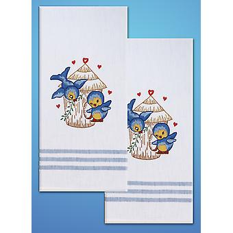 Stamped Kitchen Towels For Embroidery Bird T212935