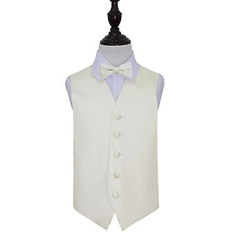 Boy's Plain Ivory Satin Wedding Waistcoat & Bow Tie Set