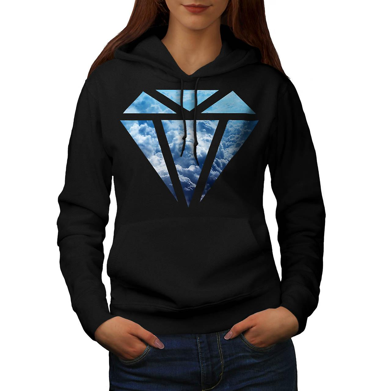 Blue Diamond Sky Cloud Jewel Love Women Black Hoodie | Wellcoda