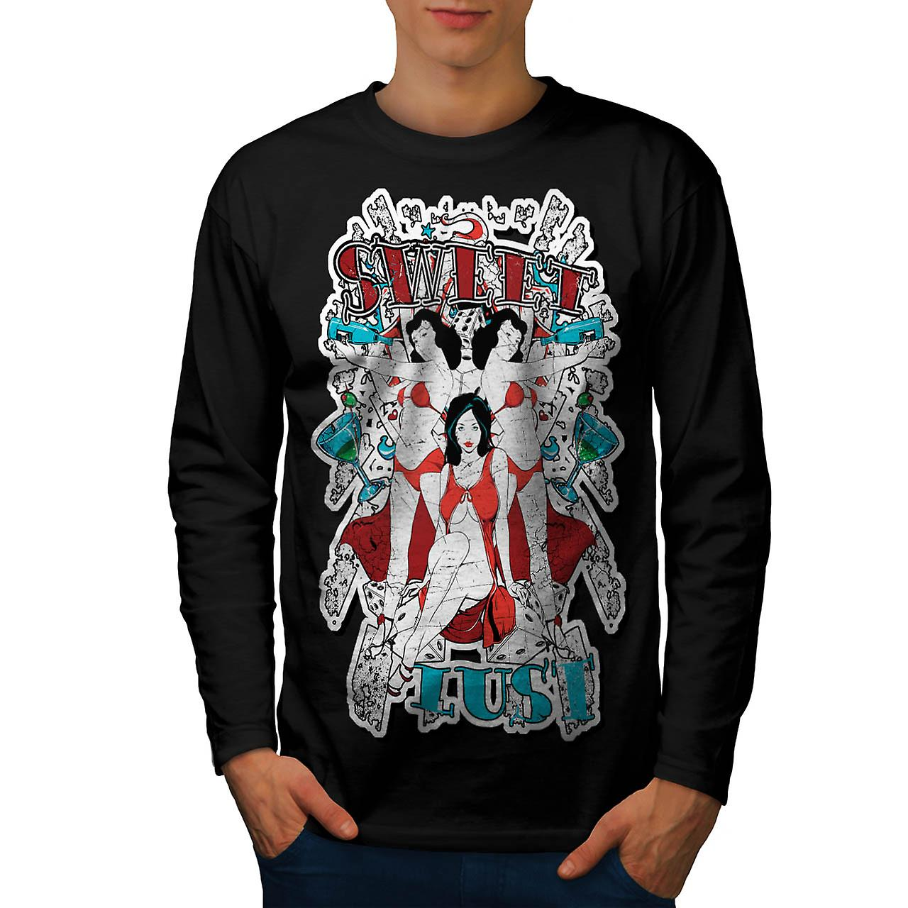 Sweet Lust Casino Bet Seduction Men Black Long Sleeve T-shirt | Wellcoda