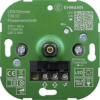 Flush-mount dimmer Suitable for light bulbs: Energy saving bulb, LED bulb, Halogen lamp, Light bulb Ehmann 3900x0700