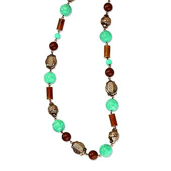 Fancy Lobster Closure Copper-tone Aqua and Brown Beads 44inch Necklace - 75.4 Grams