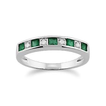 Gemondo 9ct witgoud 0.33ct Emerald & Diamond halve eeuwigheid Ring