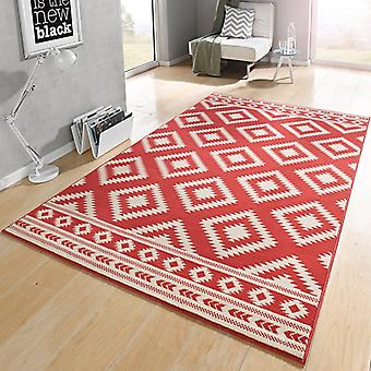 Designer velour carpet ethno coral cream | 102411
