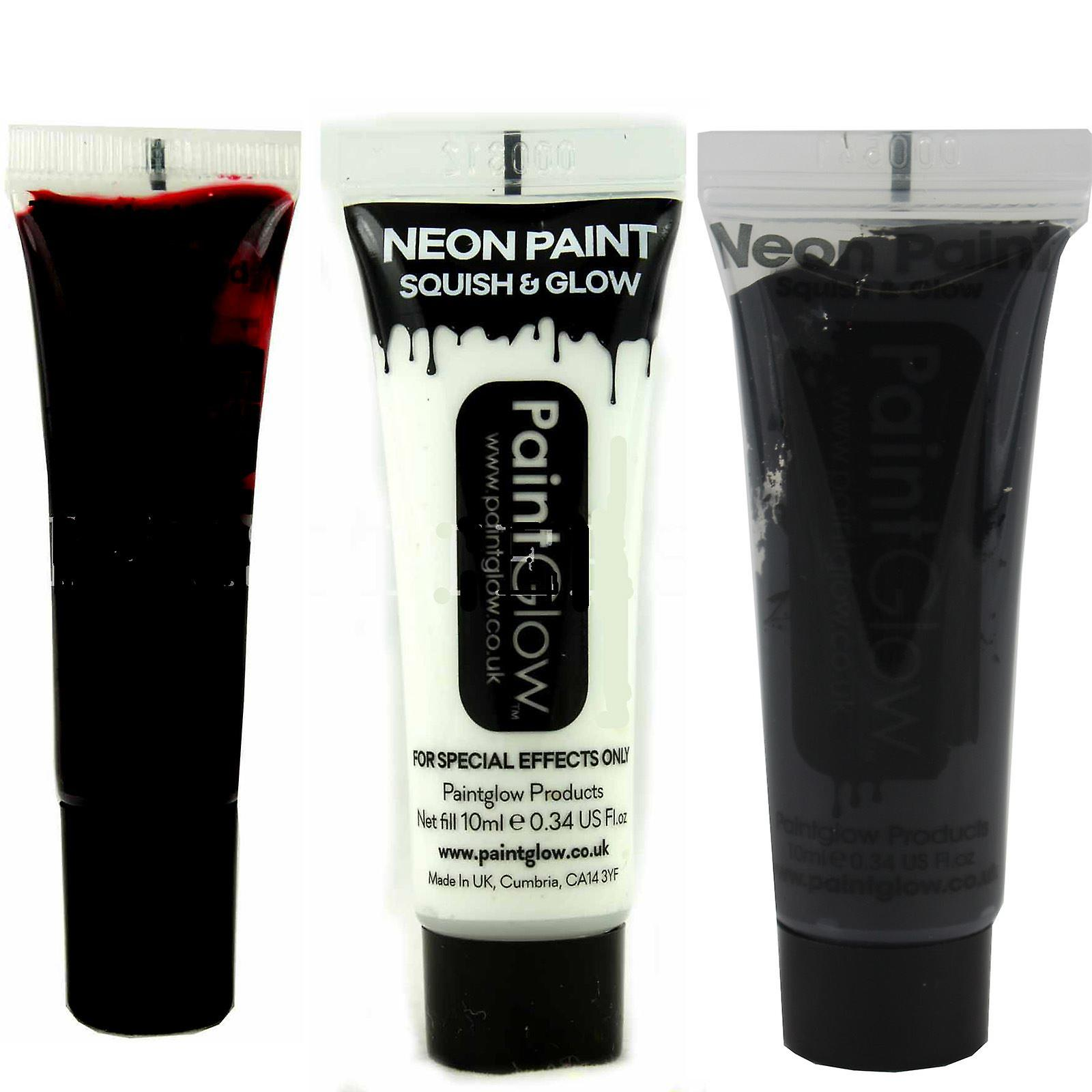 Paintglow Face and Body Paint 1 x Fake Blood 1 x White 1 x Black